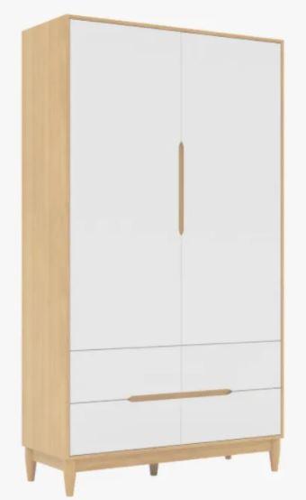 Armário Tomi 2 portas e 4 gavetas- Branco com carvalho malva