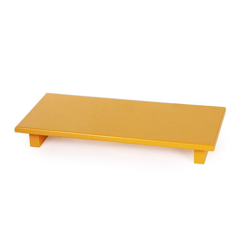 Bandeja pé reto amarelo mostarda
