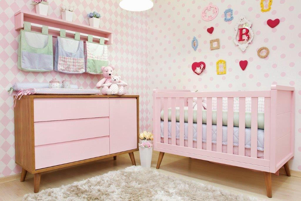 Berço com mini-cama Retrô carvalho com painéis coloridos