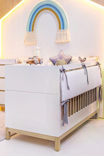 Berço Cozy com mini-cama - Branco fosco com carvalho malva