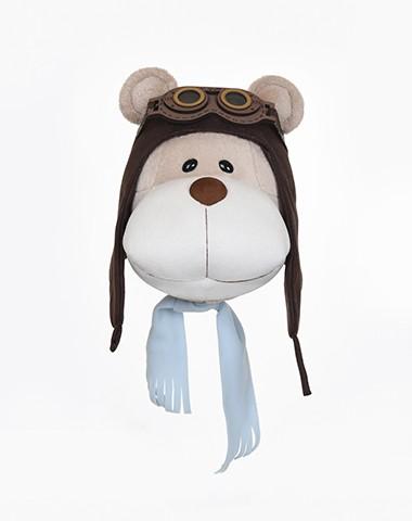 Cabeça de Urso Bochecha Aviador para Decoração de Parede