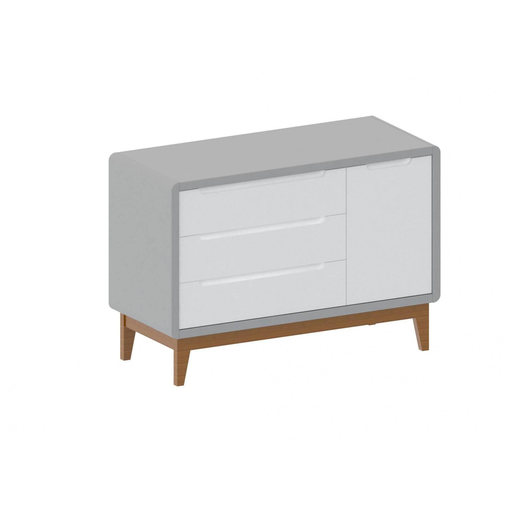 Cômoda Bo 3 gavetas com porta lateral Branca com cinza e pés em madeira