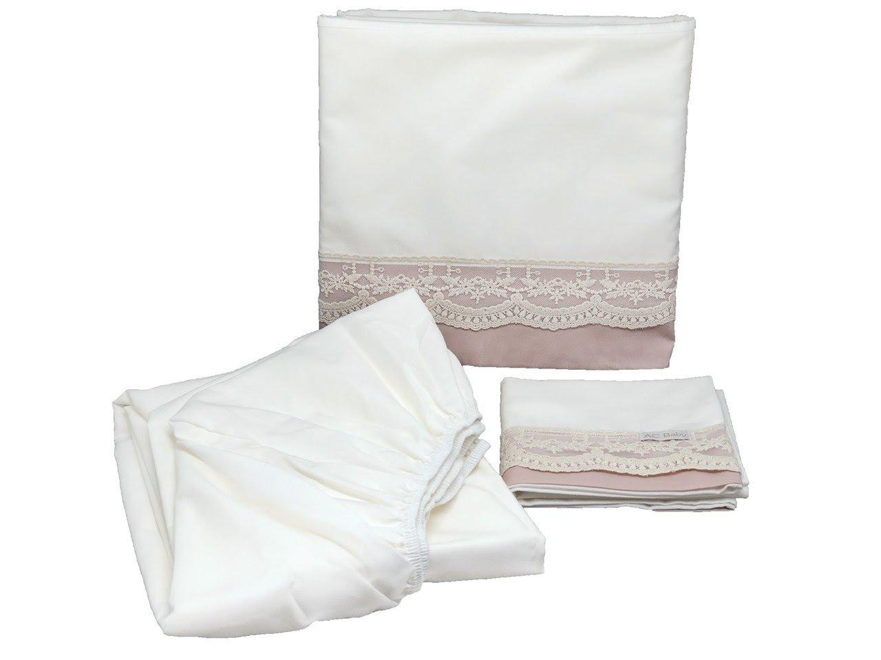 Jogo de lençol para Berço 3 peças Renda Francesa 260 Rosé