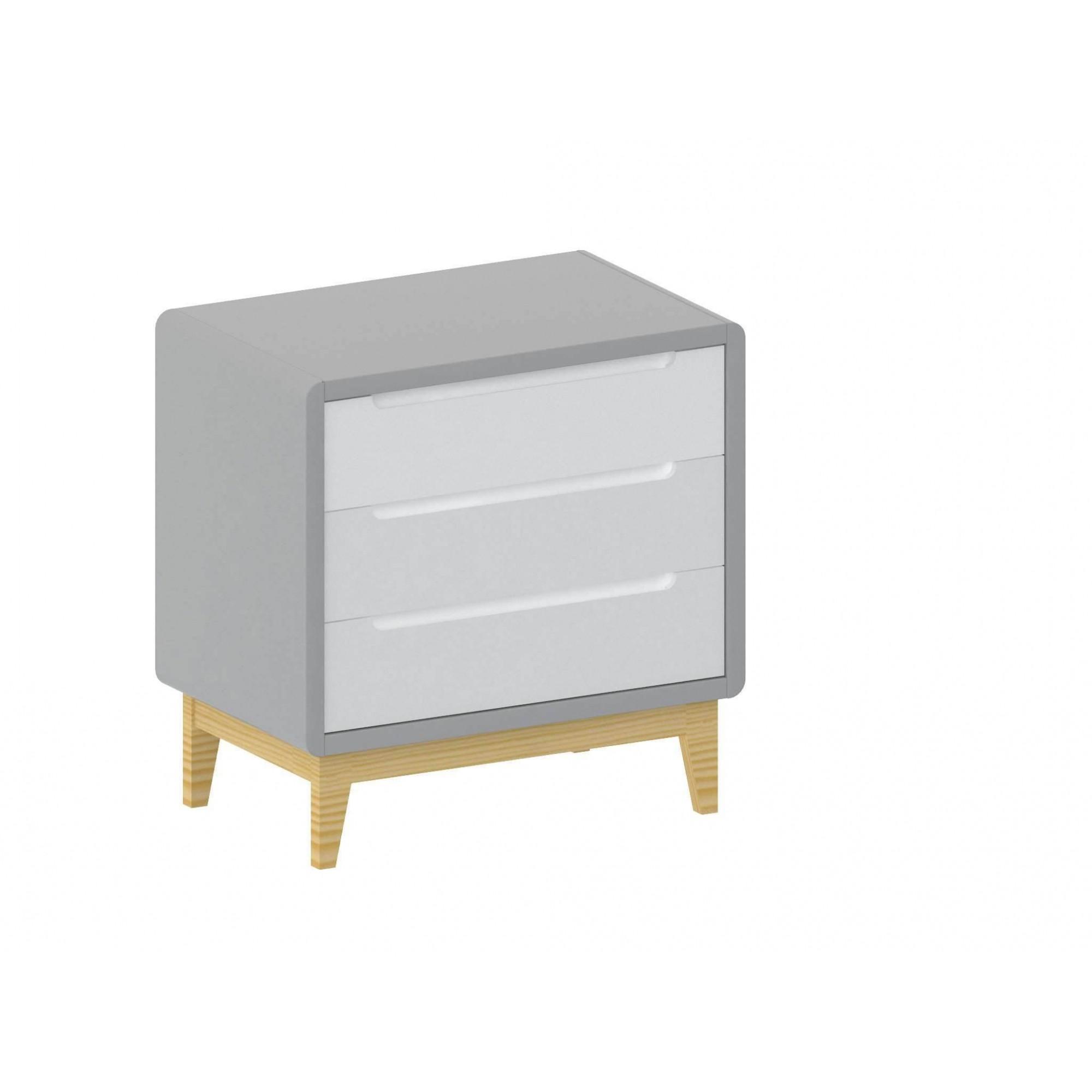 Kit Berço + Cômoda Bo 3 gavetas Branco com cinza e pés em madeira