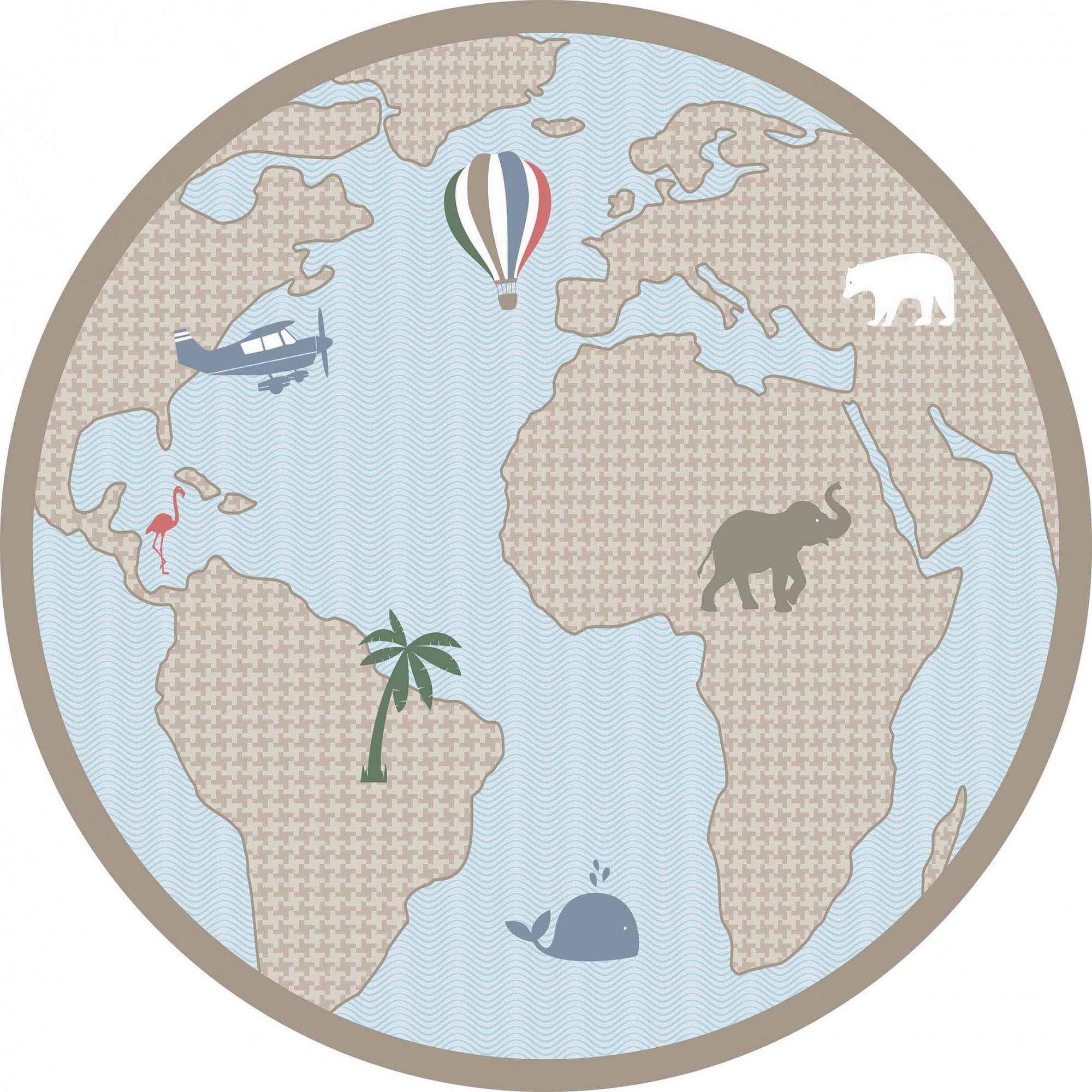Tapete vinílico infantil Mapa Colorido