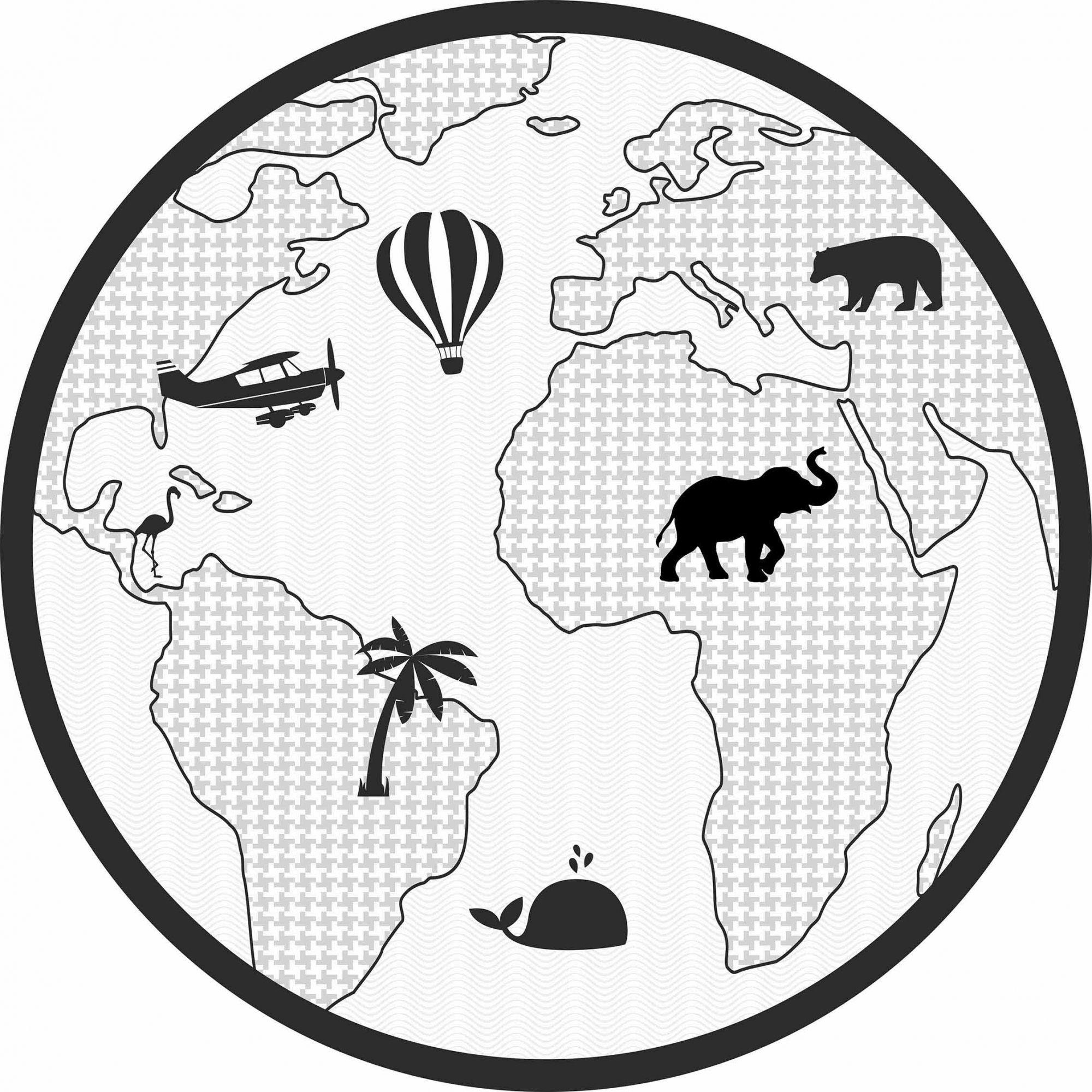 Tapete Vinílico Infantil Mapa Preto e Branco