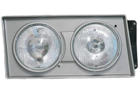 Farol VW 2000 até 2002 Pesado Prata - Farol Duplo H1 / H1 (Moldura Prata)