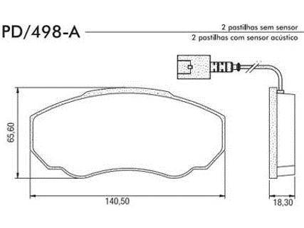 Pastilha Freio Ducato Serie 10/11/14/15 ano 2002 em diante - Disco Ventilado - Sistema Bosch