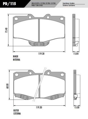 Pastilha Freio Hilux SW4 4x4 89 em Diante - Sistema Sumitomo
