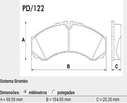 Pastilha Freio Iveco Daily 35.10 97 em Diante - Sistema Perrot