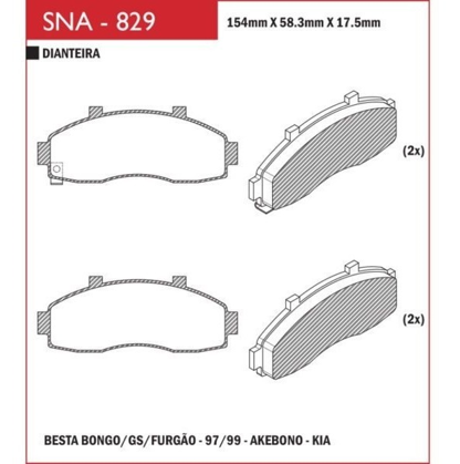 Pastilha Freio Kia Besta GS 97 em Diante - Sistema Akebono