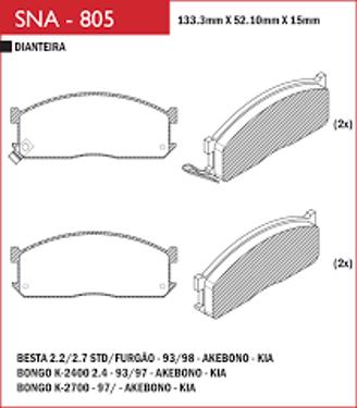 Pastilha freio Kia Besta ST/EST 93 em Diante  - Sistema Akebono
