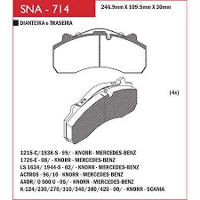 Pastilha Freio L1938/Axor/SC Serie 4  - Sistema Knorr