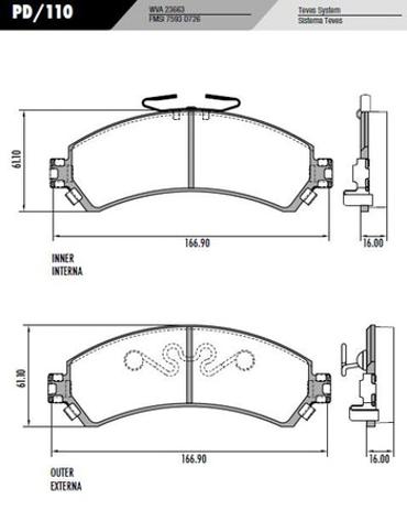 Pastilha Freio S10/Blazer 97 em diante 4x4 - Sistema Delphi