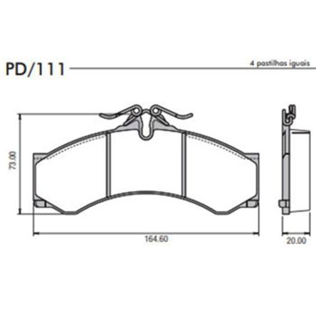 Pastilha Freio Sprinter 310/312  - Sistema Perrot