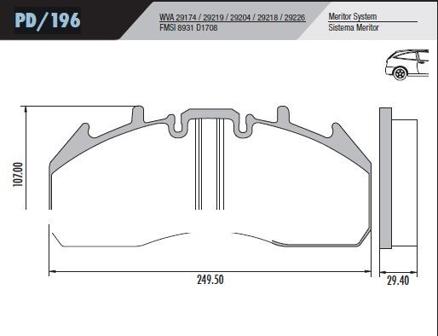 Pastilha Freio Volvo B12/FH/B12M 09 em diante  - Sistema Meritor