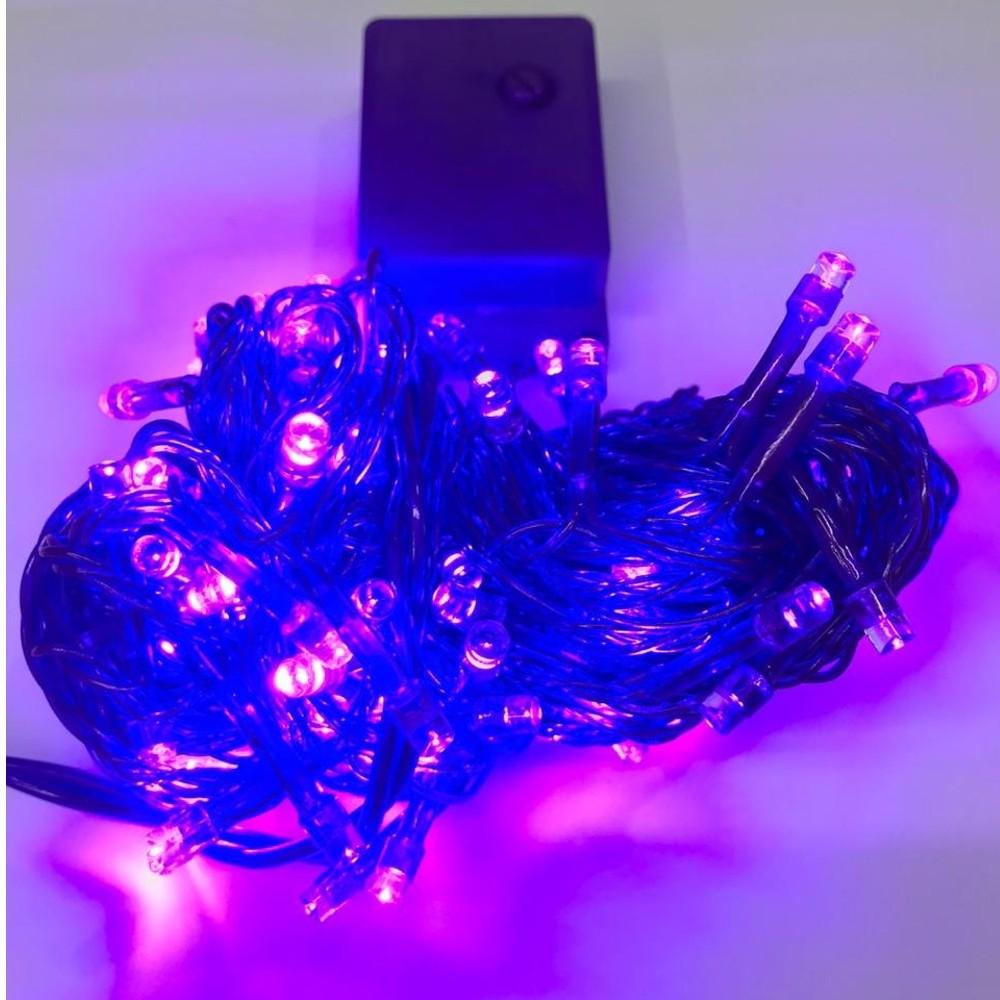CORDÃO SEQUENCIAL 100 LEDs FIO ROXO 9,2 METROS ROXO 220V