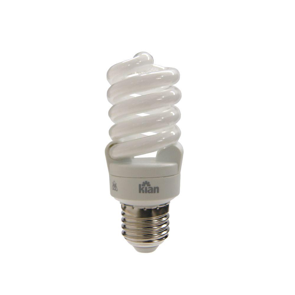 Lâmpada Kian CFL Espiral T2 15W Branca Fria 6400K E27 220-240V