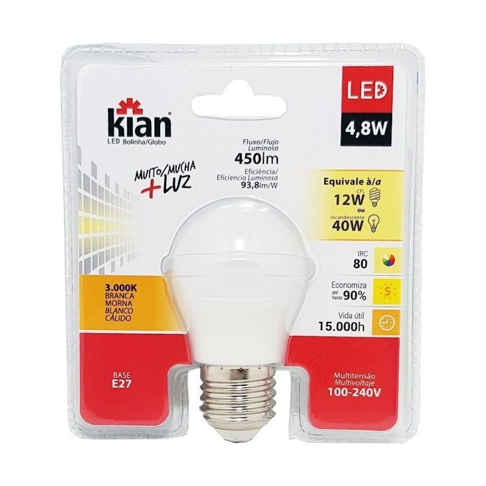 Lâmpada LED Bolinha 4,8W Branca Morna 3000K E27 100-240V