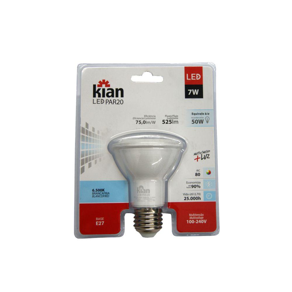 Lâmpada LED PAR20 7W Branca Fria 6500K E27 100-240V