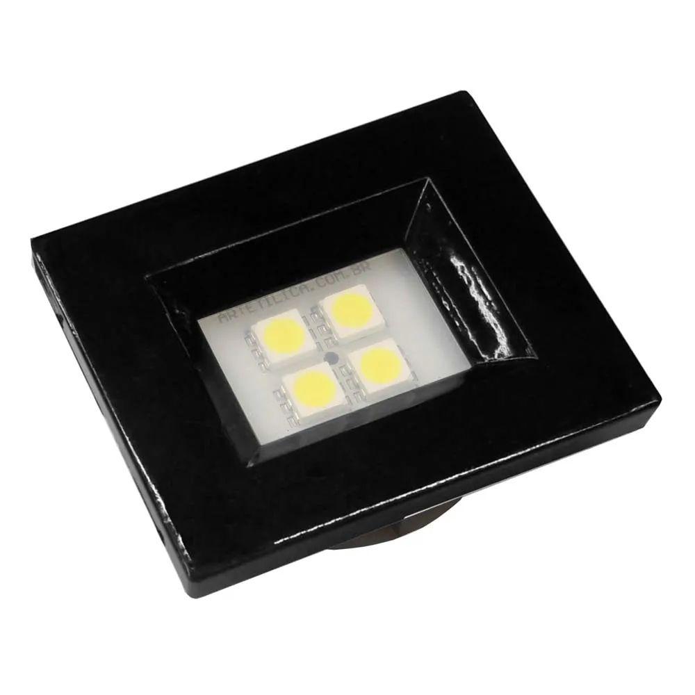 LUMINÁRIA LED PARA MÓVEL RETANGULAR 4 LEDS 6000K PRETO E514.P