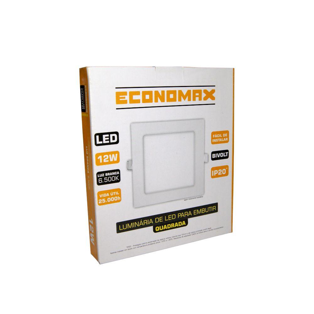 Plafon LED de Embutir 12W Branca Frio 6500K Bivolt