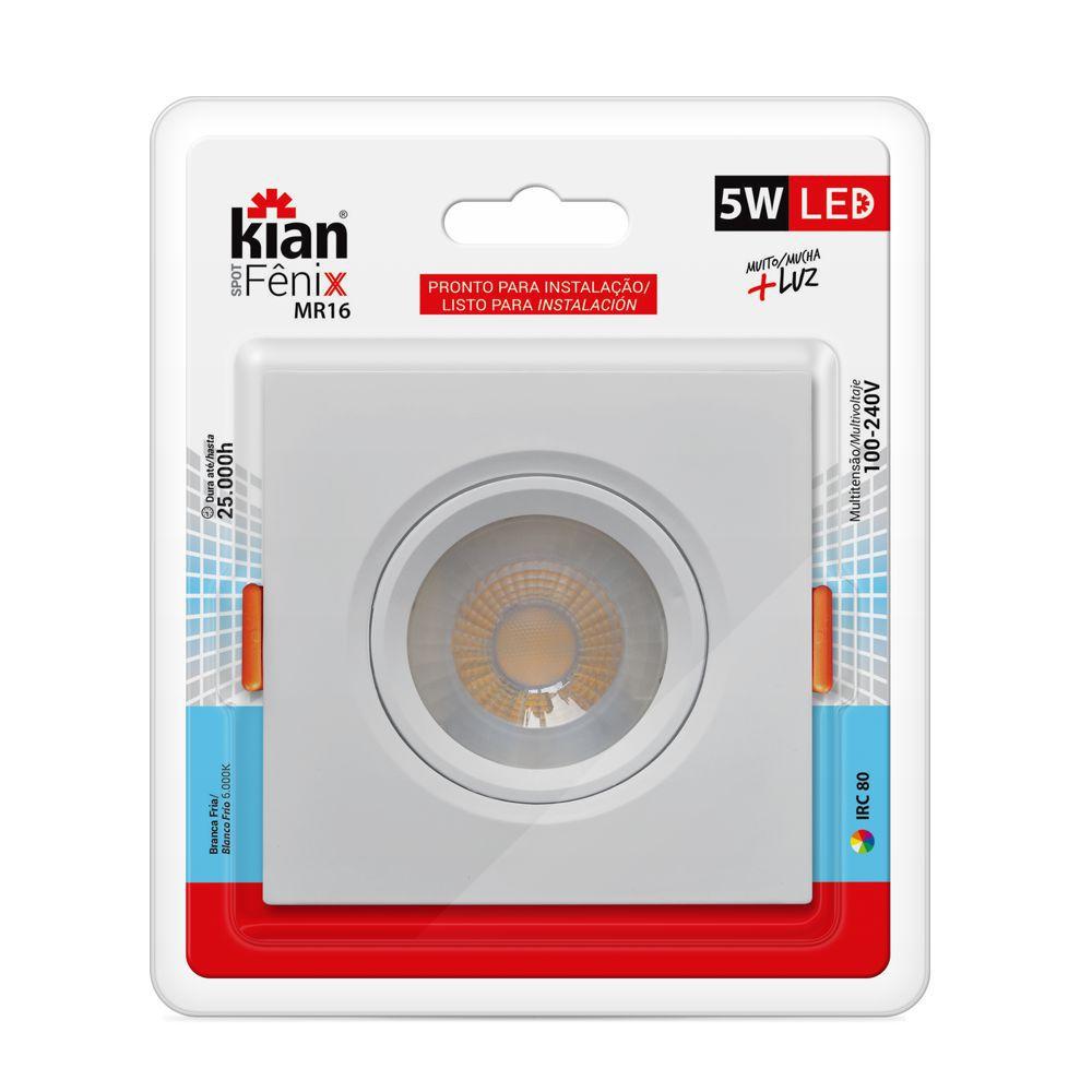 Spot MR16 LED 5W Branco Frio 6000K 100-240V