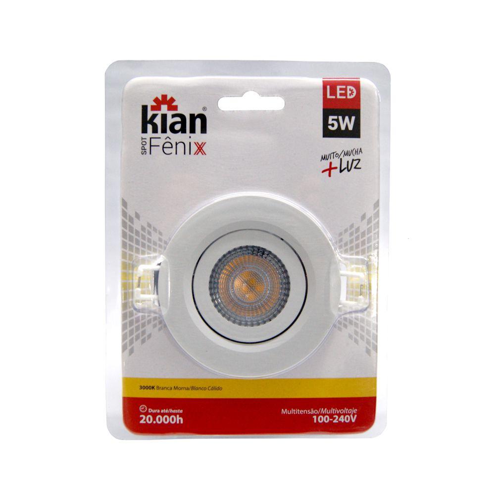 Spot LED 5W Branca Morna 3000K 100-240V