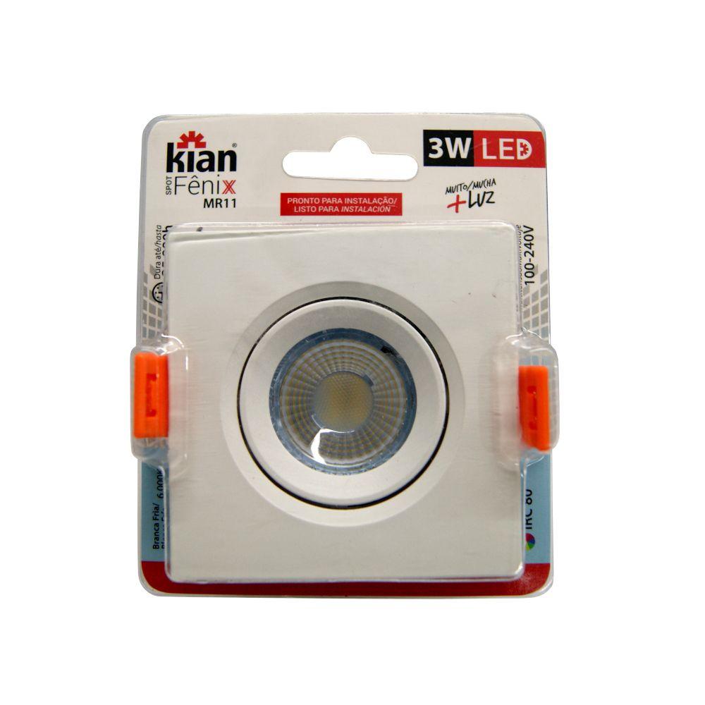 Spot Kian Fênix MR11 LED 3W Branca Fria 6000K 100-240V