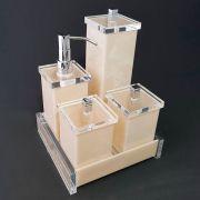 Kit Charm Duo com 4 Potes e Bandeja para Bancadas de Banheiros e Lavabos