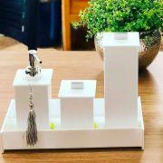 Kit Elegance com 3 Potes e Bandeja para Bancadas de Banheiros e Lavabos