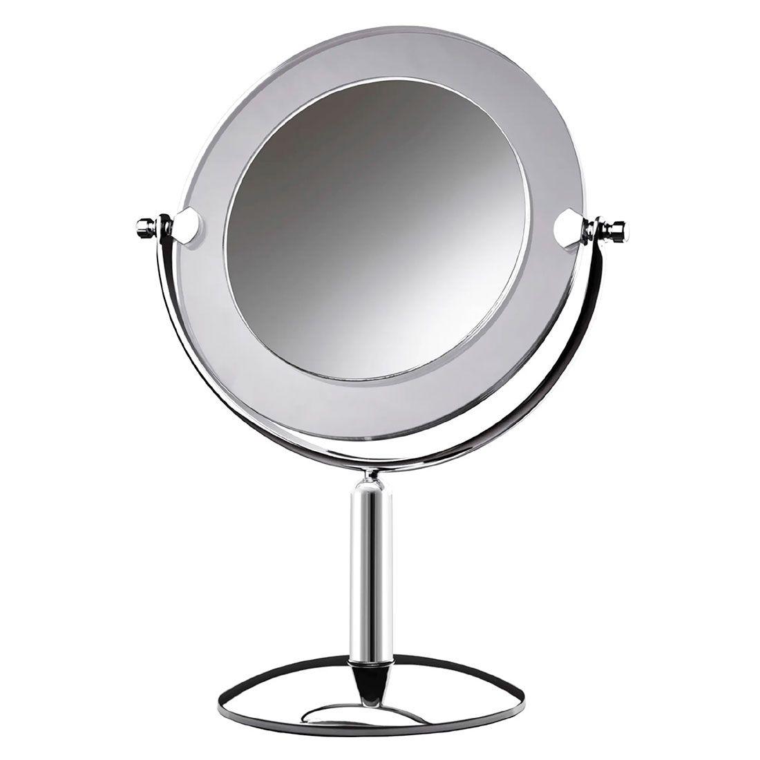 Espelho de Mesa Royale Cristal Cromado com Aumento de 5x para Maquiagem