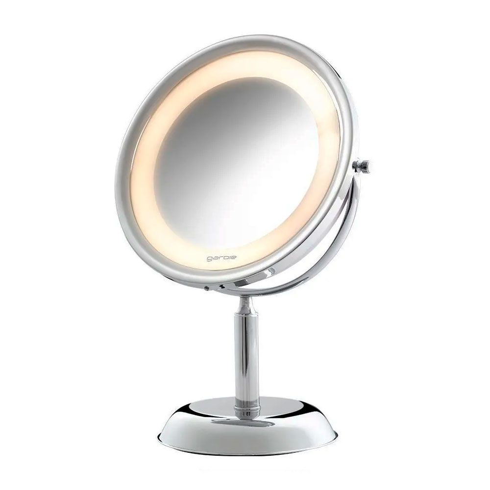Espelho de Mesa Royale Lux Cromado com Luz e Aumento de 5x para Maquiagem