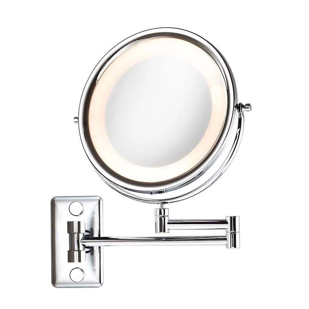 Espelho de Parede Mobile Lux Cromado com Luz, Braço Articulável e Aumento de 5x para Maquiagem
