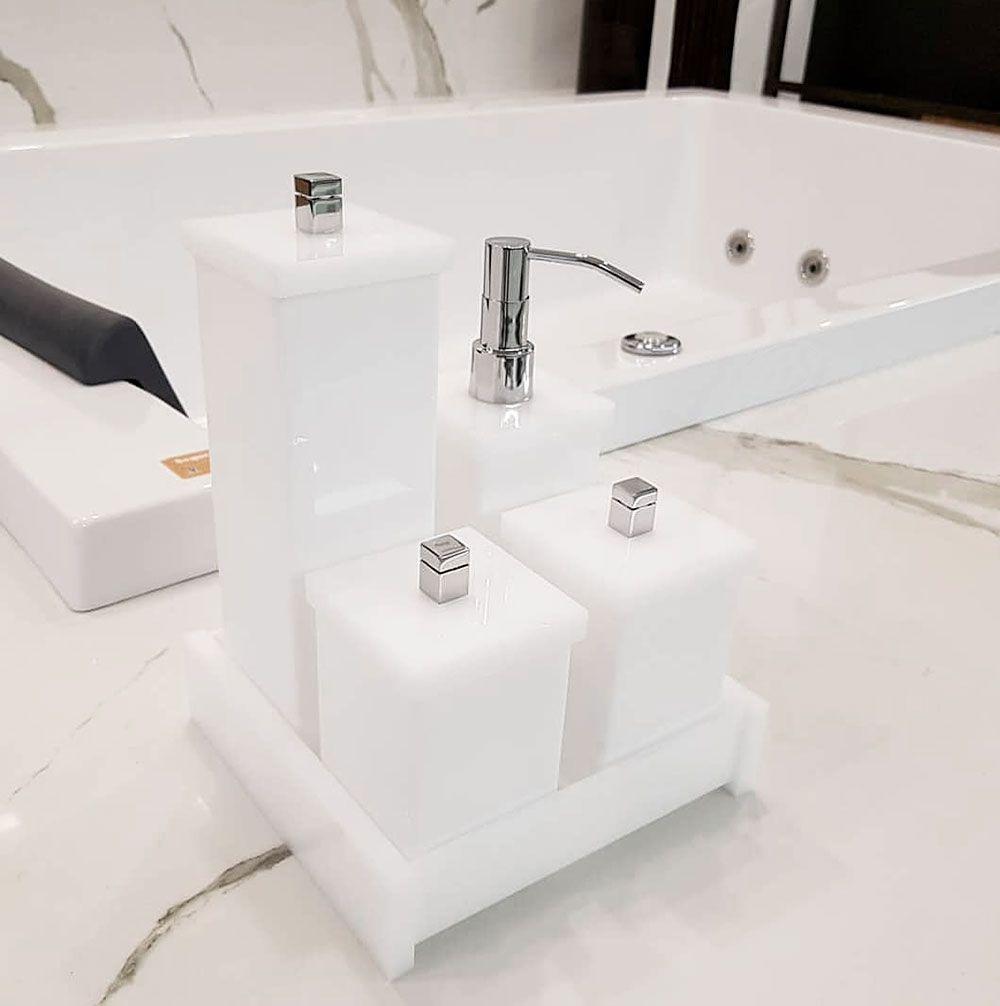 Kit Duo com 4 Potes e Bandeja para Bancadas de Banheiros e Lavabos