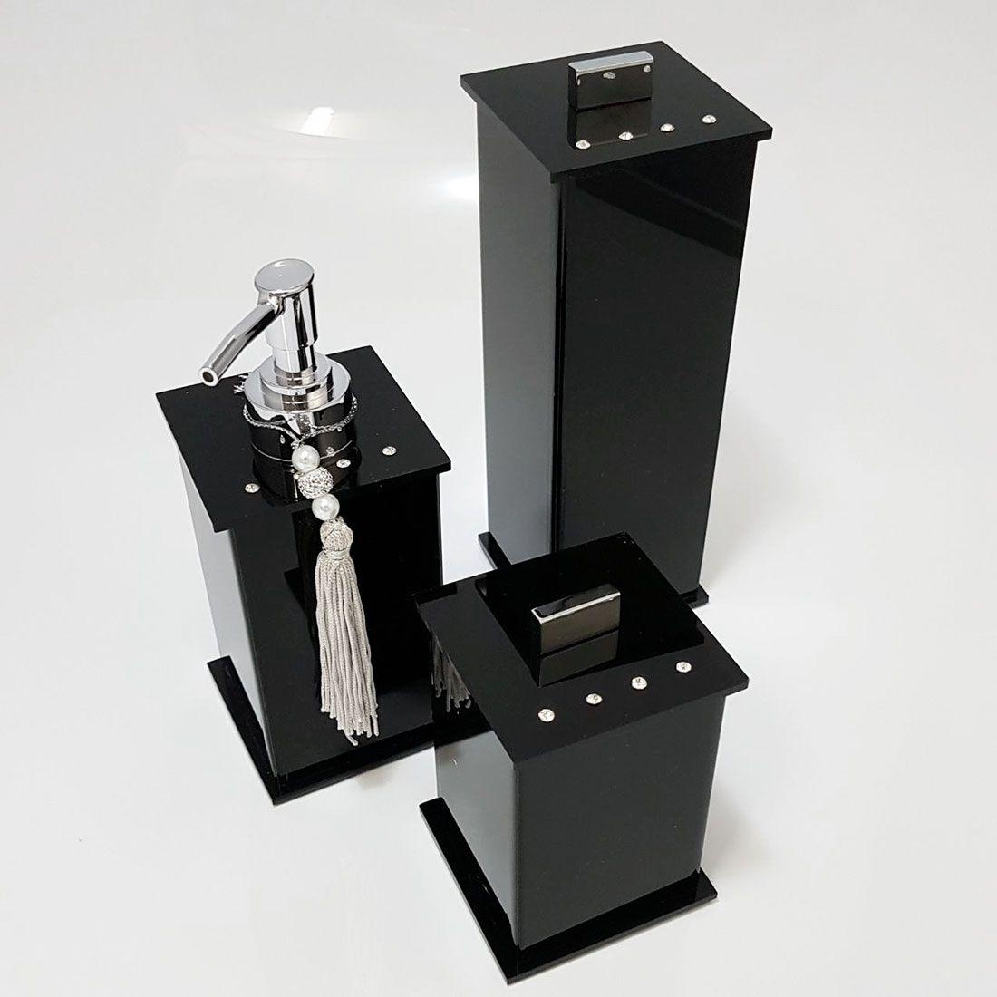 Kit Elegance Cristal com 3 Potes e Bandeja para Bancadas de Banheiros e Lavabos