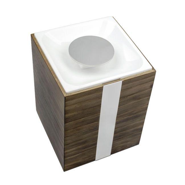 Lixeira de Chão 5 Litros Oriente Wood para Banheiros e Lavabos
