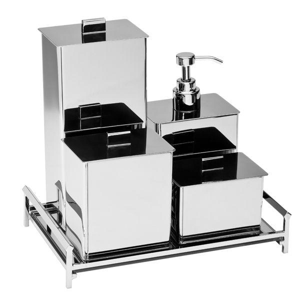 Porta Cotonete Retangular 102555 em Inox Polido para Bancada de Banheiros e Lavabos