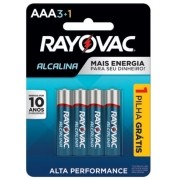 Pilha AAA Alcalina Rayovac - 4 unidades