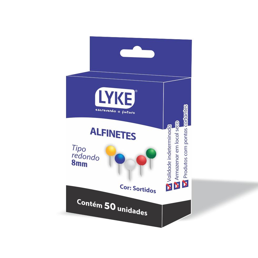 Alfinete Mapa tipo Redondo colorido com 50 unidades - Kit com 10