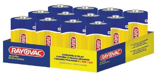 Bandeja Pilha D Zinco Rayovac Amarelinha com 12 unidades
