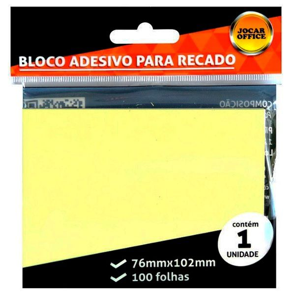 Bloco Adesivo 76x102mm - 1 bloco c/ 100 Folhas - Amarelo