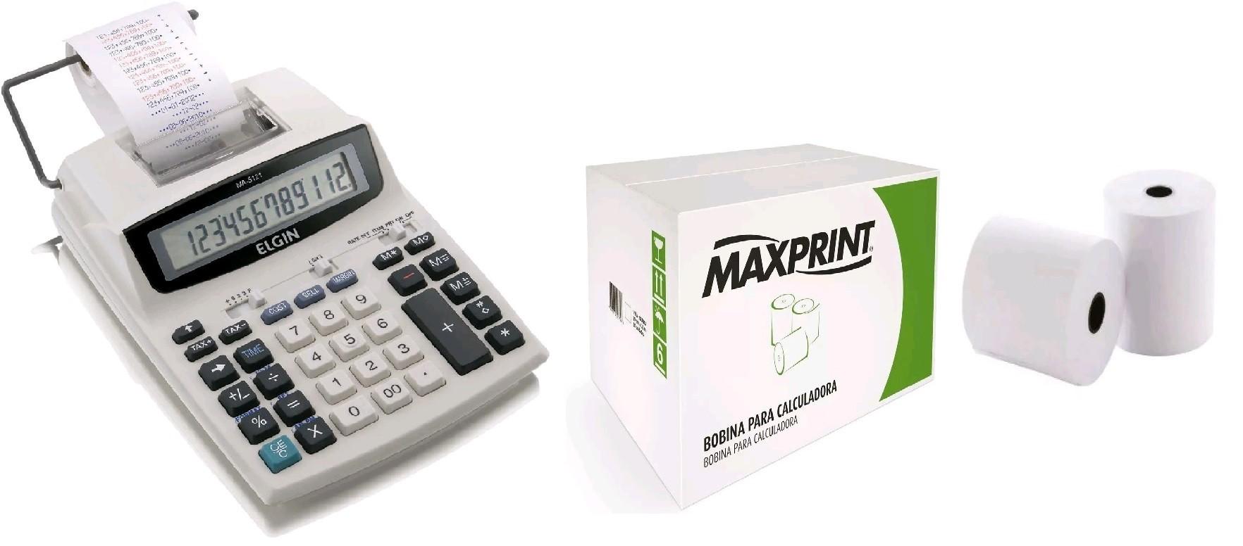 Calculadora bobina Elgin 12 dígitos MA-5121 + Caixa Bobina 57x30mt Branca
