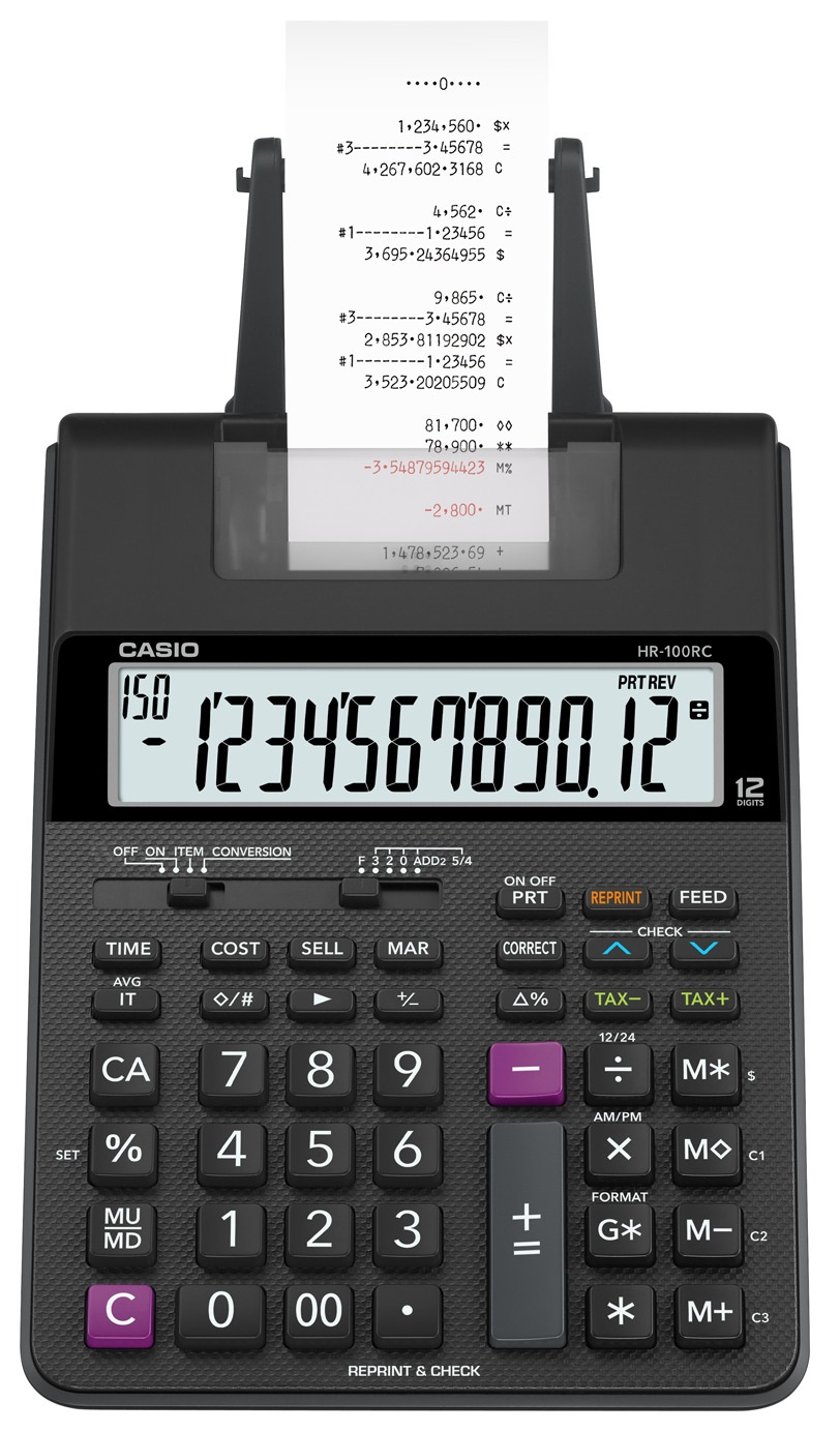 Calculadora com bobina , 2 cores impressão  HR-100rc-bk-b-dc Preta