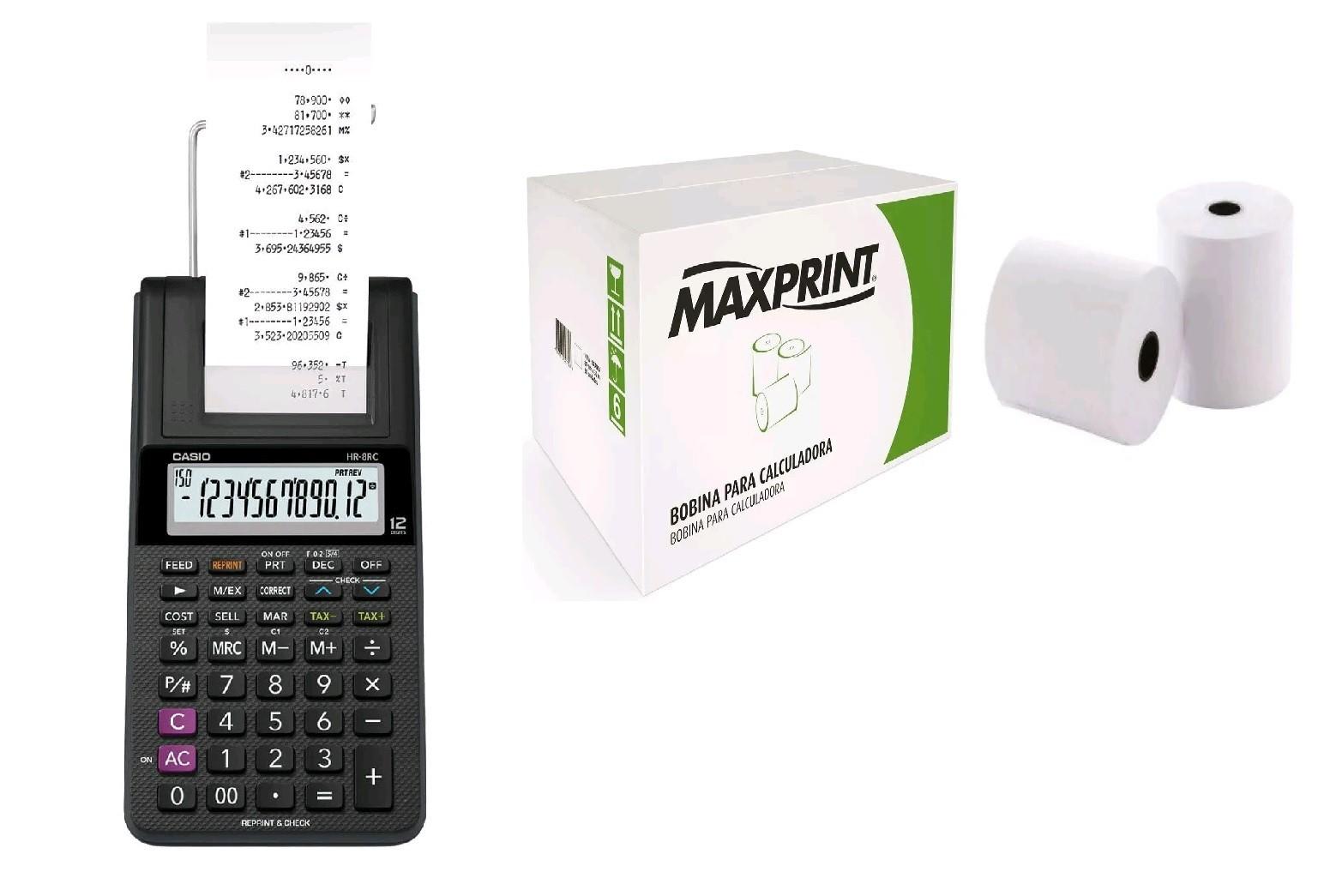 Calculadora com bobina, Casio HR-8rc Preta + Caixa de Bobina 57x30mt