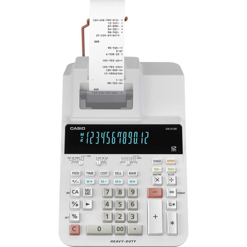Calculadora com Bobina Comercial Casio Display LCD - DR-210R Branca
