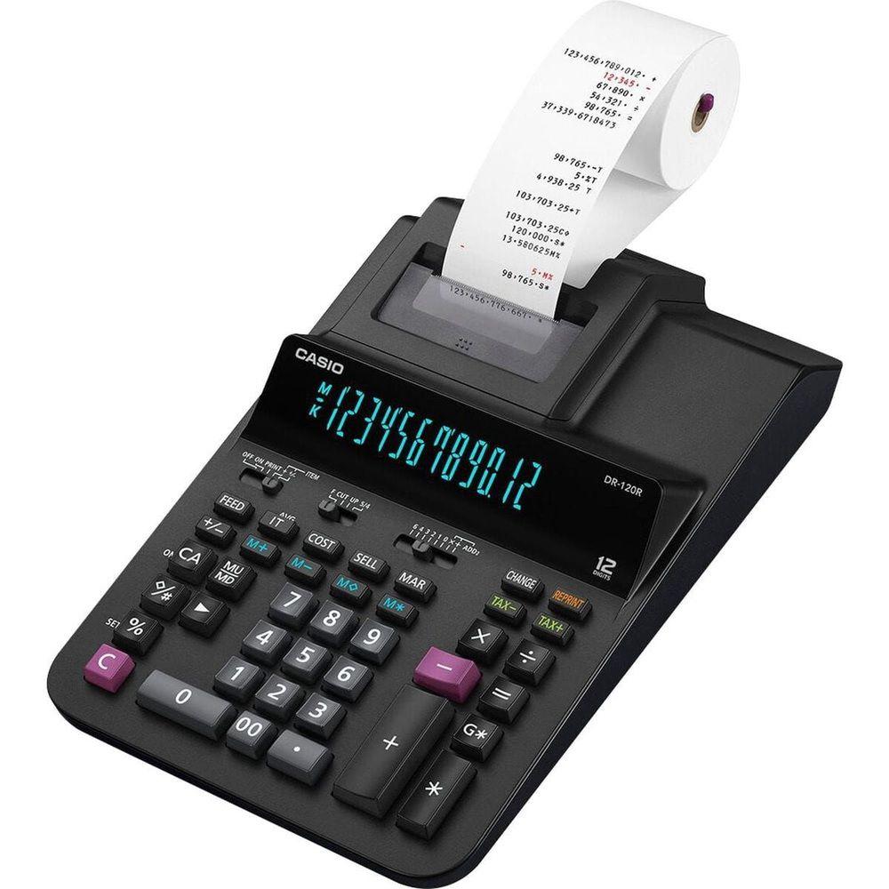 Calculadora com Bobina Comercial Casio - DR-120R Preta