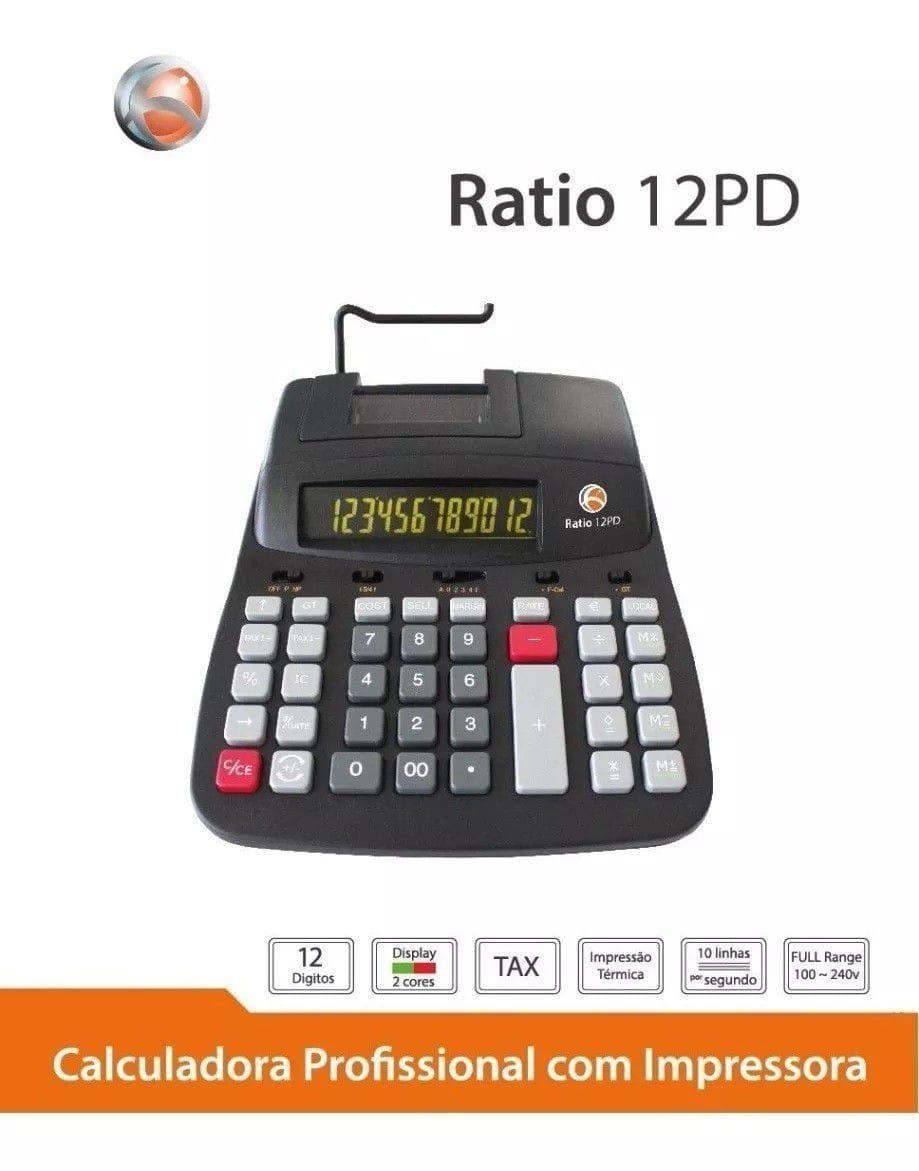 Calculadora com Bobina Comercial Ratio 12 PD 12 dígitos Impressão Térmica