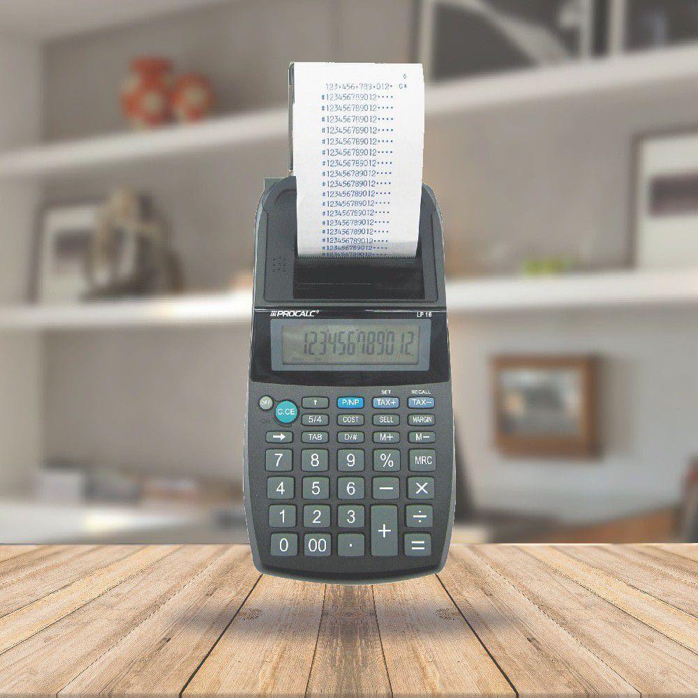 Calculadora compacta com bobina de mesa 12 digitos - LP18