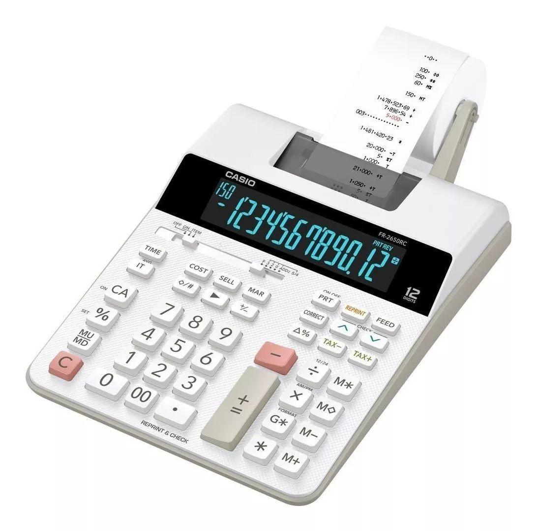 Calculadora com Bobina Display LCD Casio FR-2650RC-B-DC Branca